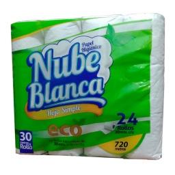 Papel Higienico Nube Blanca Paquete 24 Rollos 30mts.