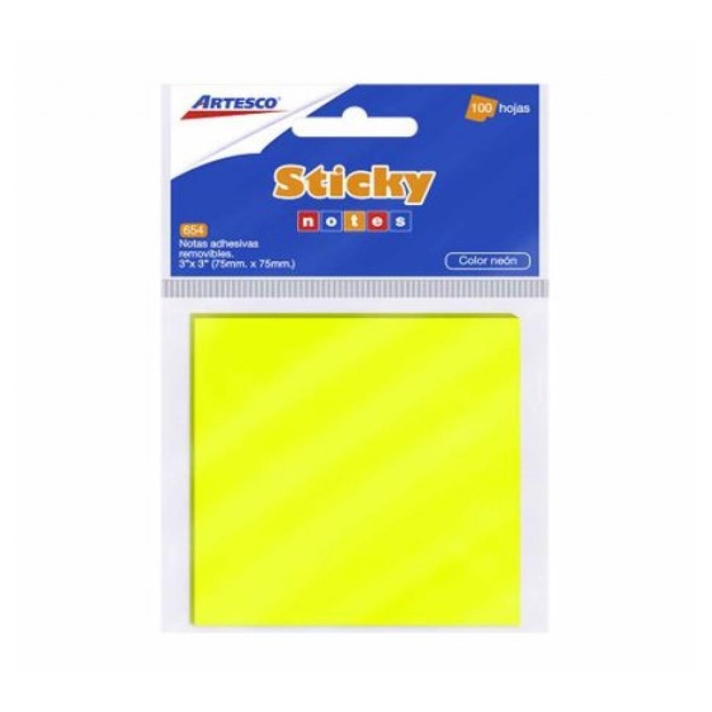 Notas adhesivas fluor Artesco 7.5x7.5cm amarillo