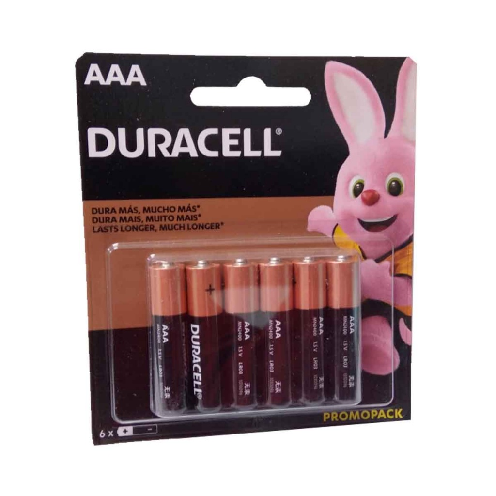 Pilas alcalinas Duracell x 6 unidades AAA PACK