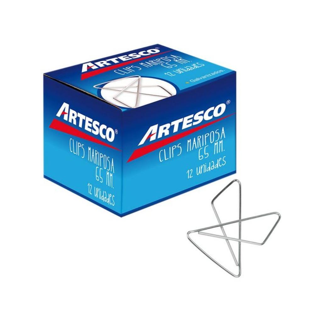 Clips metálicos Artesco mariposa caja x 12 unidades 65 mm