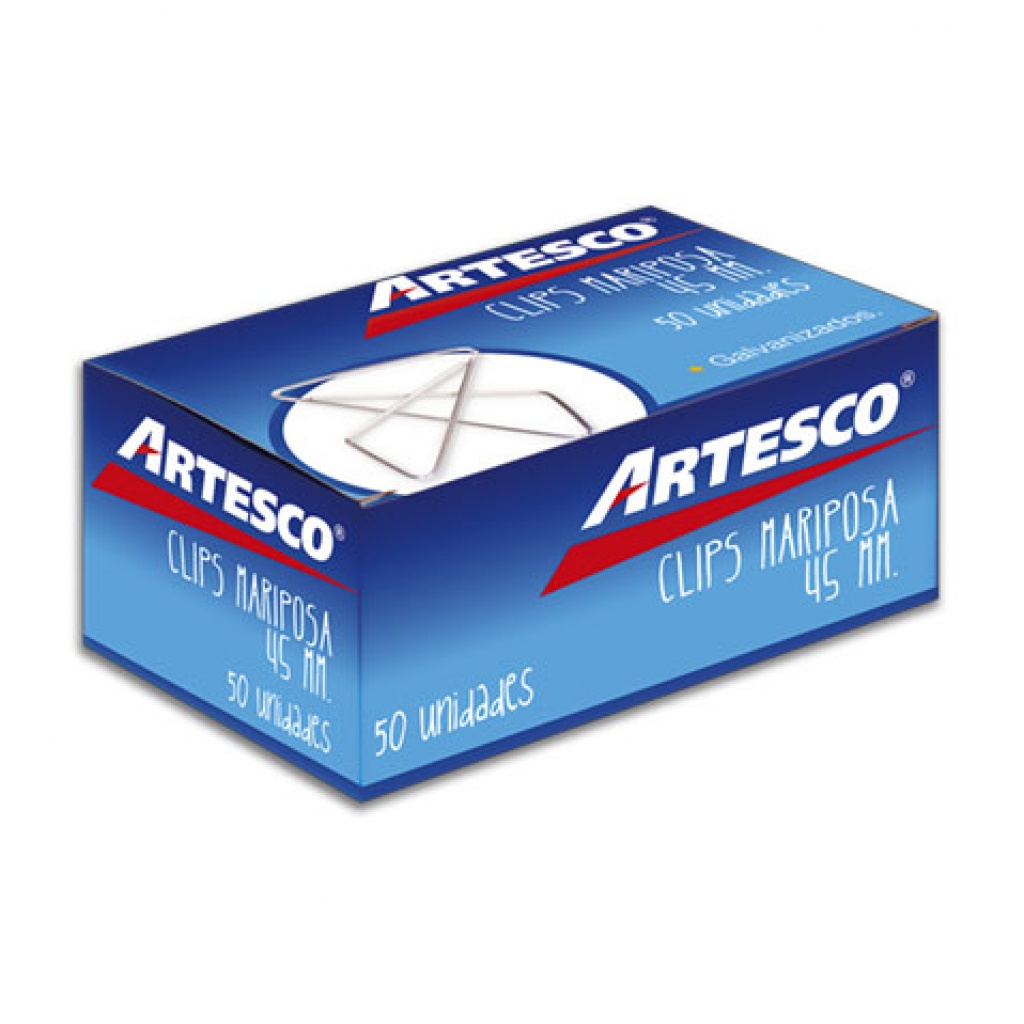 Clips metálicos Artesco mariposa caja x 50 unidades 45 mm