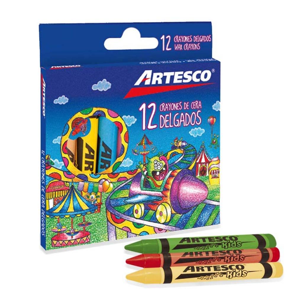 Crayones delgados Artesco estuche 12 unidades Pack x 12