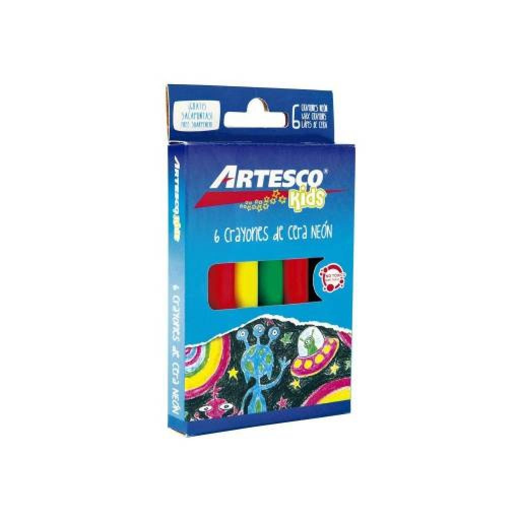 Crayones jumbo Artesco estuche 6 unidades NEoN Pack x 6