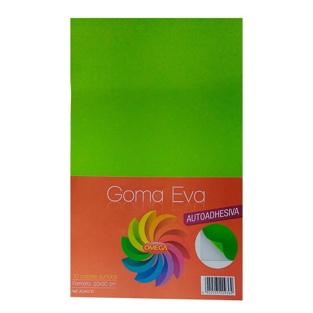 Goma Eva Lisa adhesiva Paquete x 10 A4 colores surtidos. pack