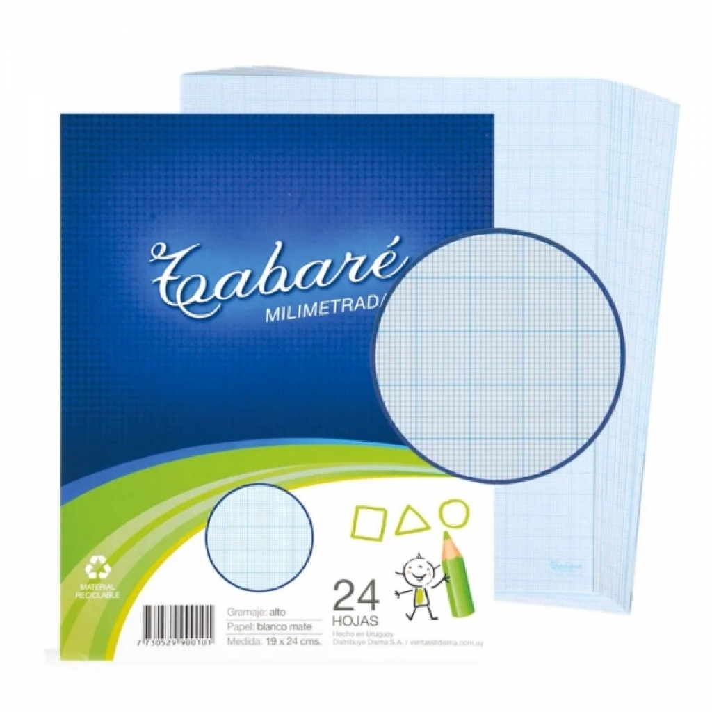 Hojas de deberes Tabare Paquete x 24 Milimetradas PACK