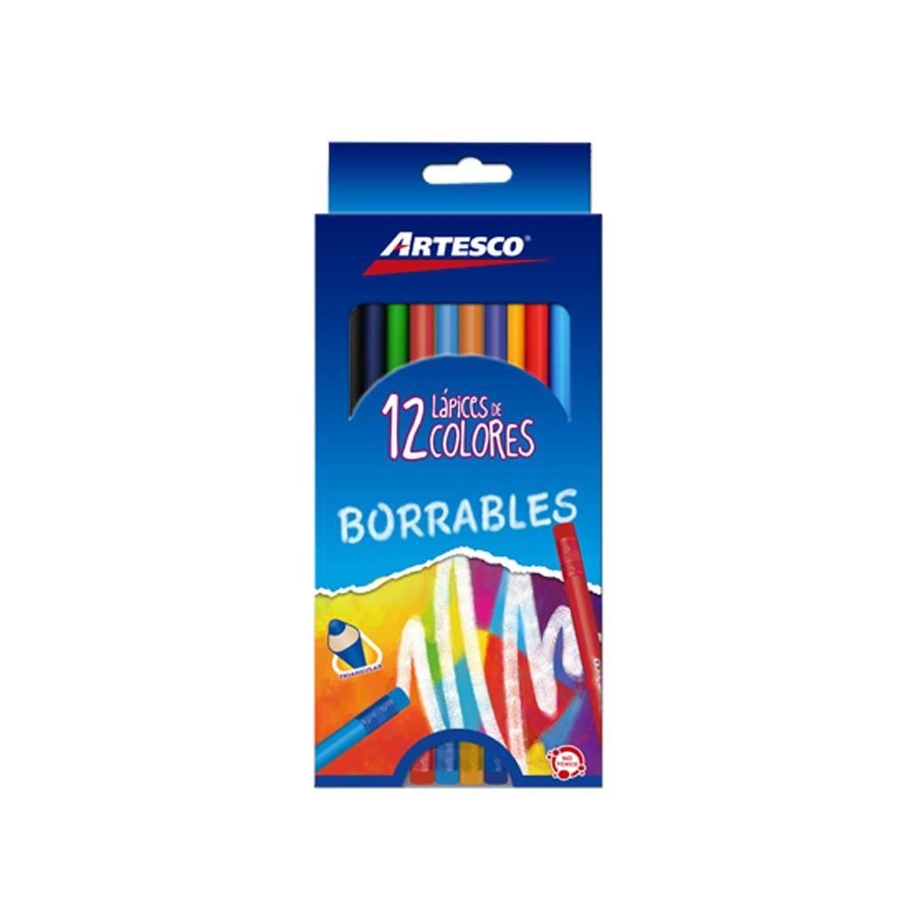 Lapices de colores triangular borrable Artesco paquete x 12 Pack