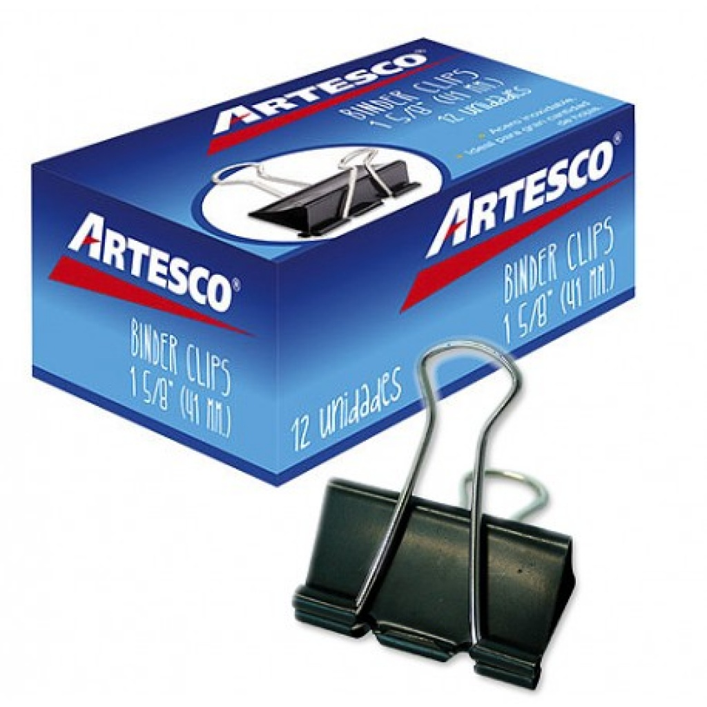 Aprieta papel Artesco caja x 12 41mm Doble Clip