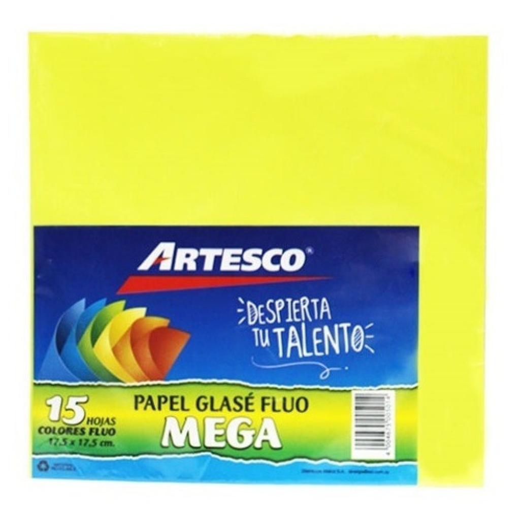 Papel Glase Artesco 15 Hojas 17 x 17 CM. Fluor