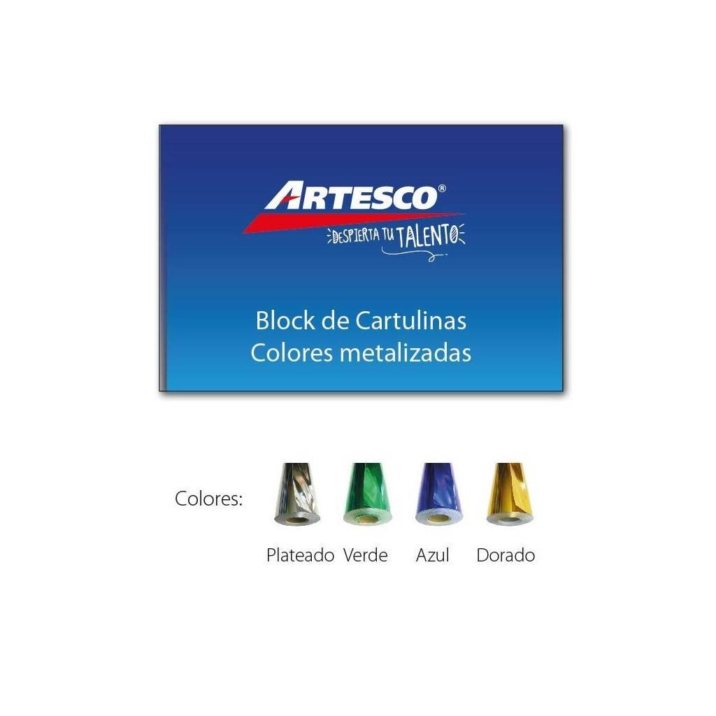 Block cartulina 1/8 W Artesco 10 hojas Metalizado