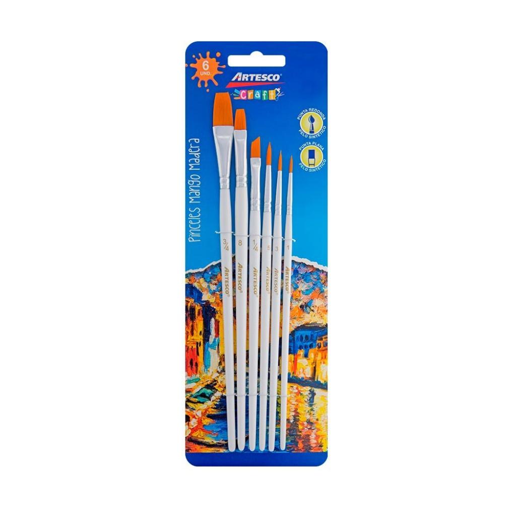 Set pinceles planos nylon Artesco mango blanco pack x 6 302
