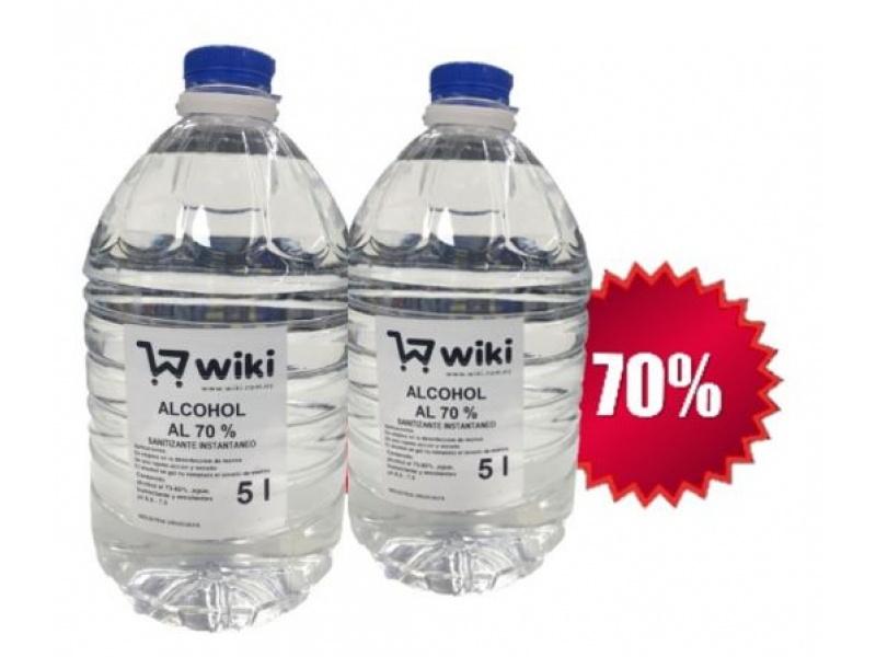 ALCOHOL LIQUIDO 70% - 2 BIDONES X 5 LT. C/U